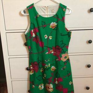 Green floral jcrew shift dress